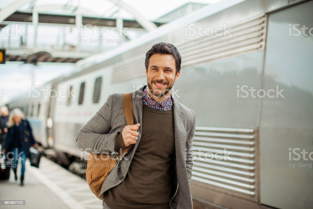 Businessman in a Train station stock photo