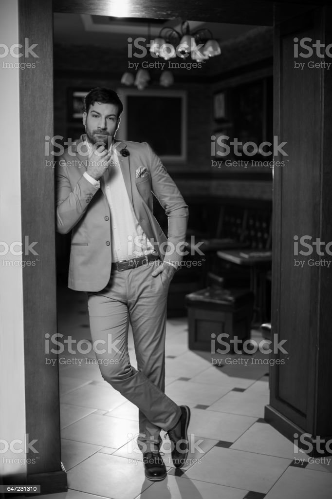 Businessman in black and white stock photo