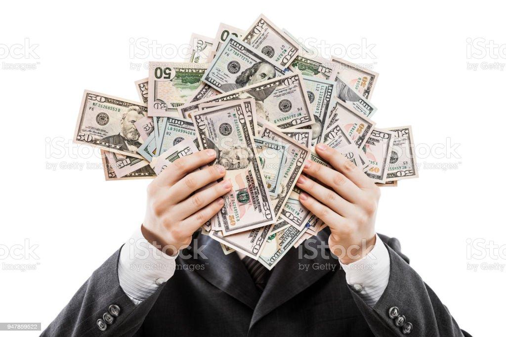 Kaufmann im schwarzen Anzug Hand hält US-Dollar Währung Geld – Foto
