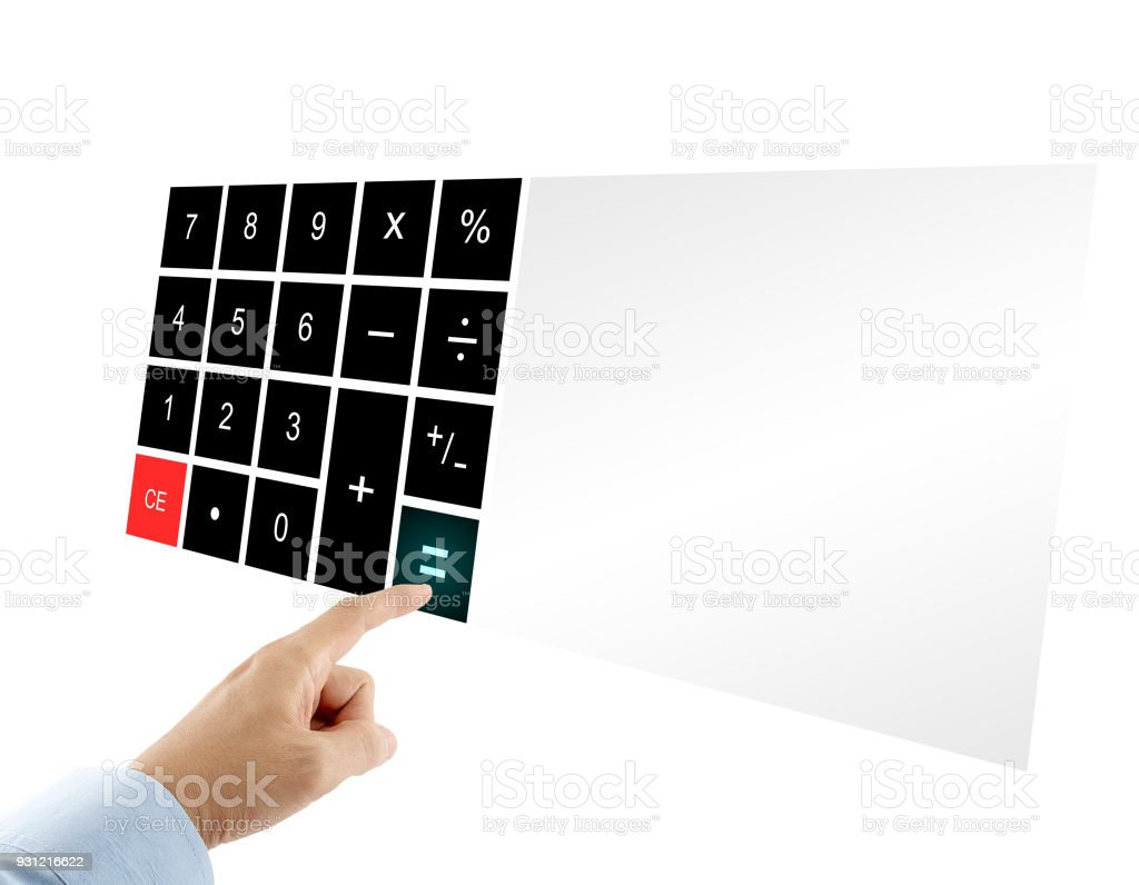 businessman in blue shirt pressing equal sign button on touch screen digital calculator with blank display isolated on white background stock photo