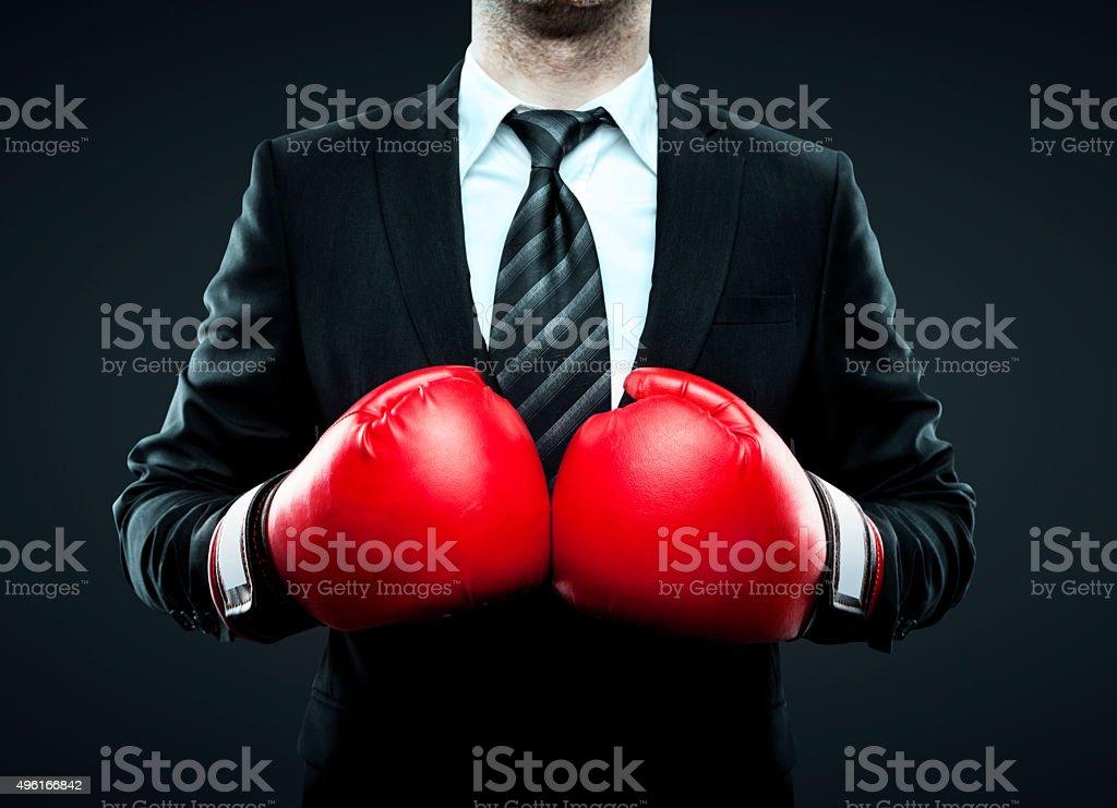 Geschäftsmann mit Boxhandschuhen Lizenzfreies stock-foto