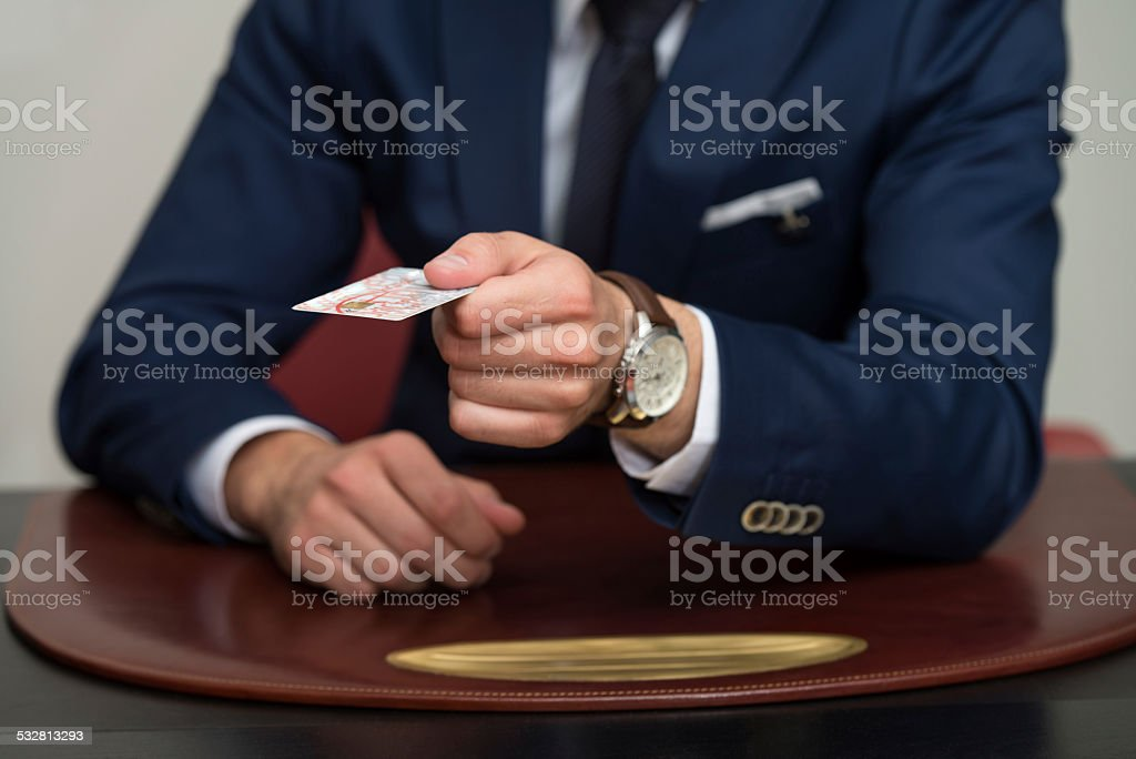 Businessman In Business Suit Pay By Credit Card stock photo