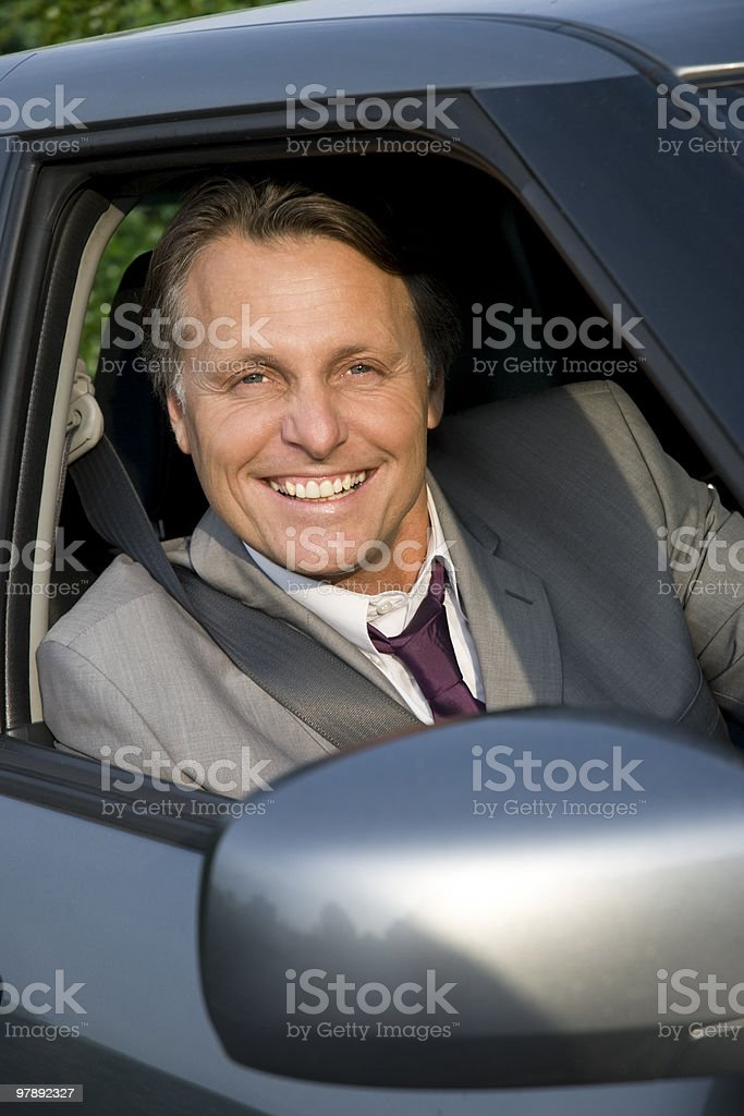 Businessman in car. royalty-free stock photo