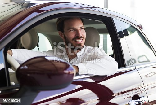 Businessman in car  driving