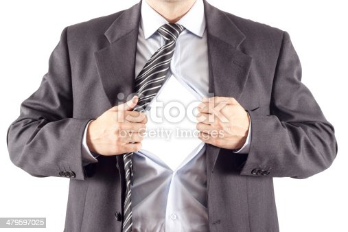 158909167istockphoto Businessman in classic superman pose tearing his shirt open 479597025
