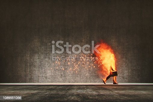Businessman in cloud computing digital flames walking on the street. This is entirely 3D generated image.