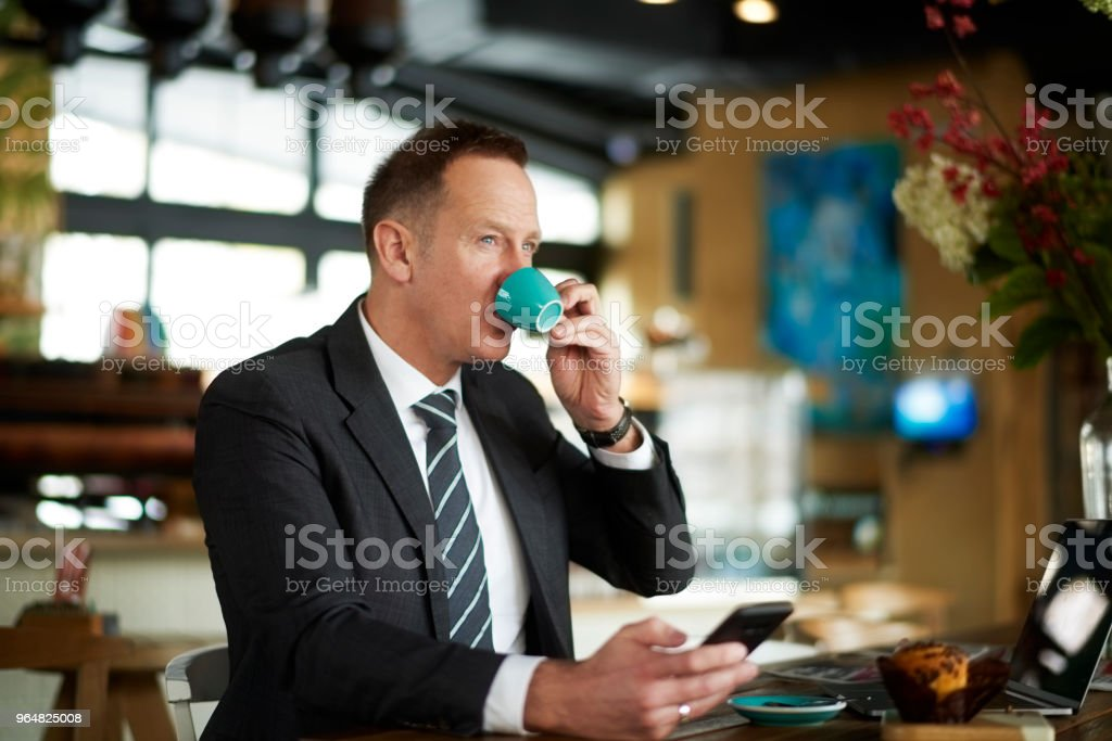 Businessman in coffee shop royalty-free stock photo