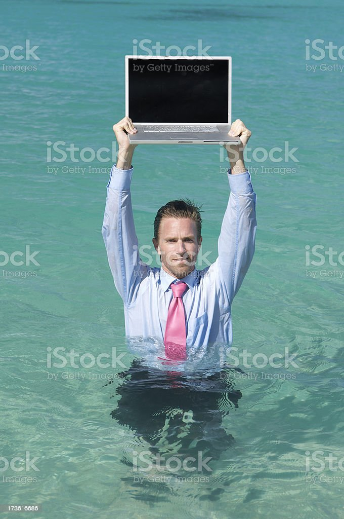 Businessman in Deep Water royalty-free stock photo