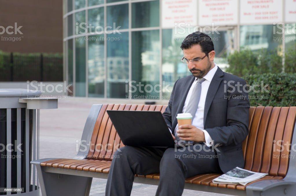 businessman in Dubai Marina royalty-free stock photo