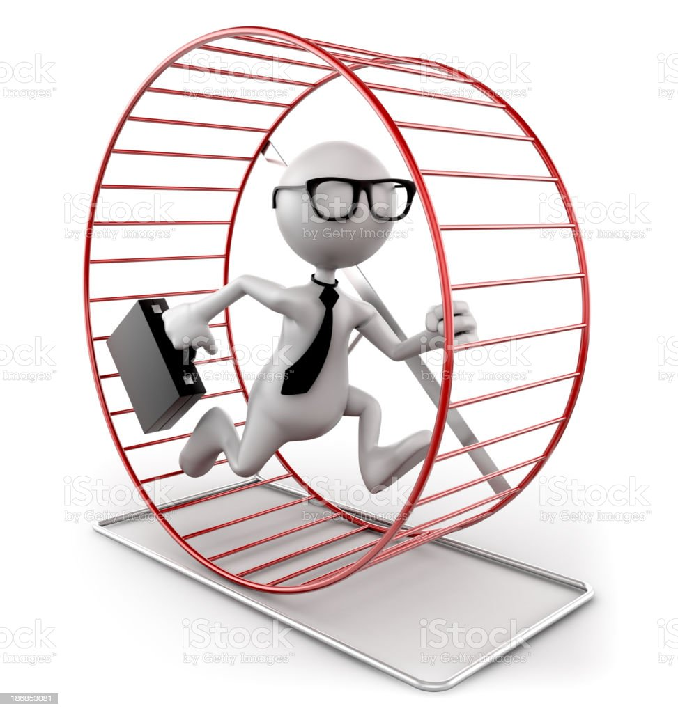 Businessman in exercise wheel, isolated with clipping path royalty-free stock photo