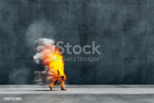 Businessman in flames walking on the street. This is entirely 3D generated image.