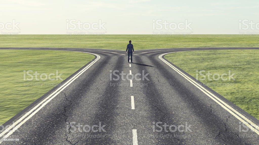 Geschäftsmann vor eine Gabelung - welchen Weg? - Lizenzfrei Abstrakt Stock-Foto