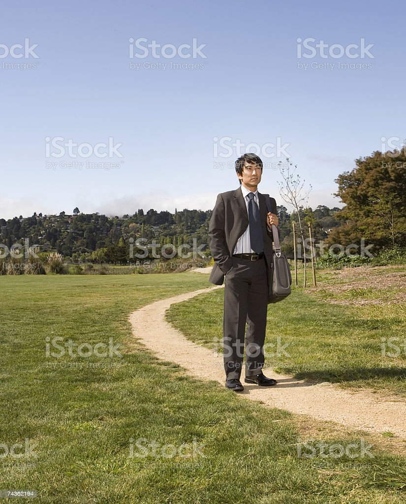Businessman in full suit standing on path in rural landscape foto de stock libre de derechos