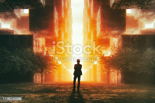 Businessman in futuristic city at sunset. This is entirely 3D generated image.