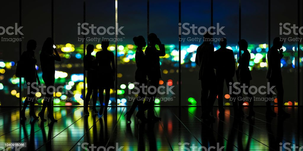 Businessman in futuristic tokyo defocused lights stock photo