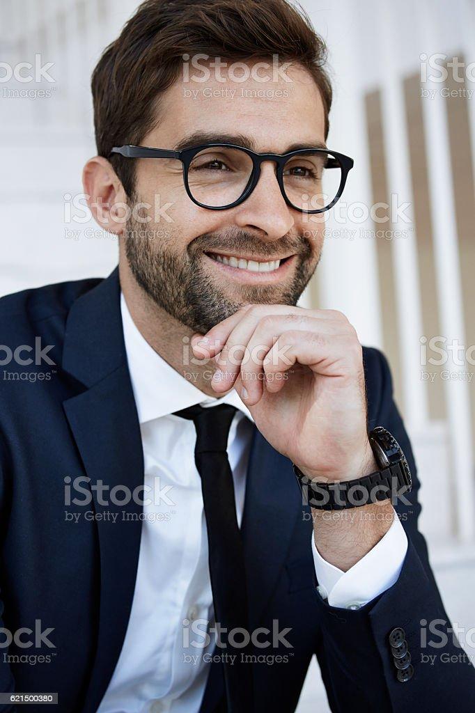 Businessman in glasses, smiling photo libre de droits