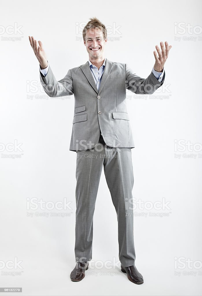 businessman in grey suit on white background royalty-free stock photo