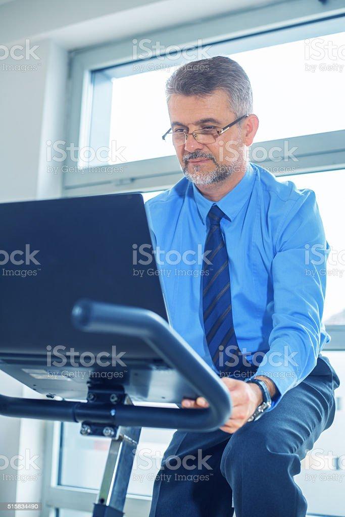Businessman in gym stock photo