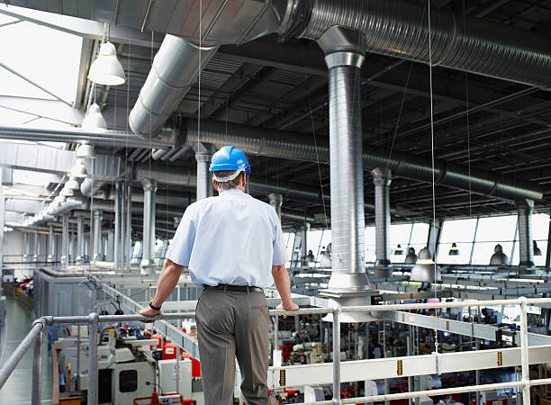 Businessman in hard-hat looking at factory floor stock photo