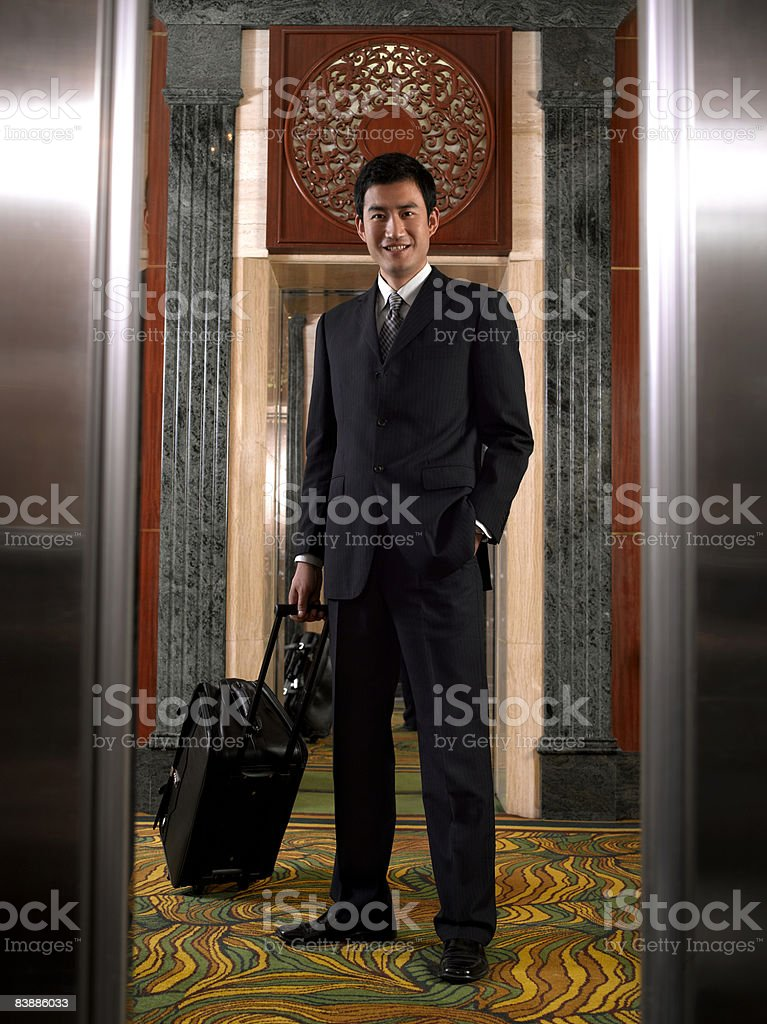 Businessman in hotel  royalty free stockfoto