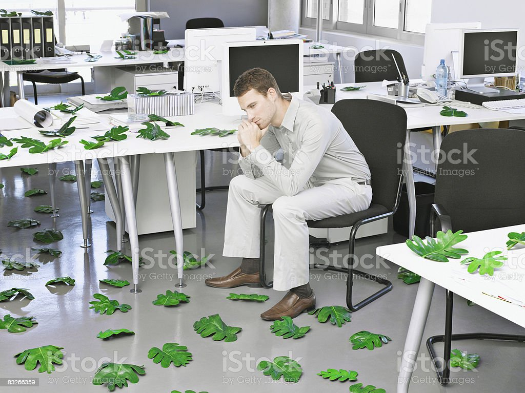 Businessman in modern office surrounded by leaves royalty free stockfoto