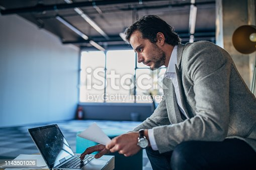 530281733istockphoto Businessman in modern office working on laptop 1143501026