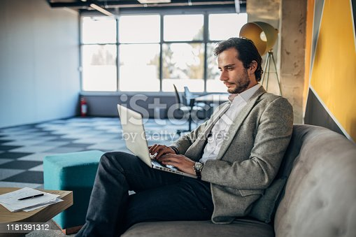 530281733istockphoto Businessman in modern office working on laptop 1181391312