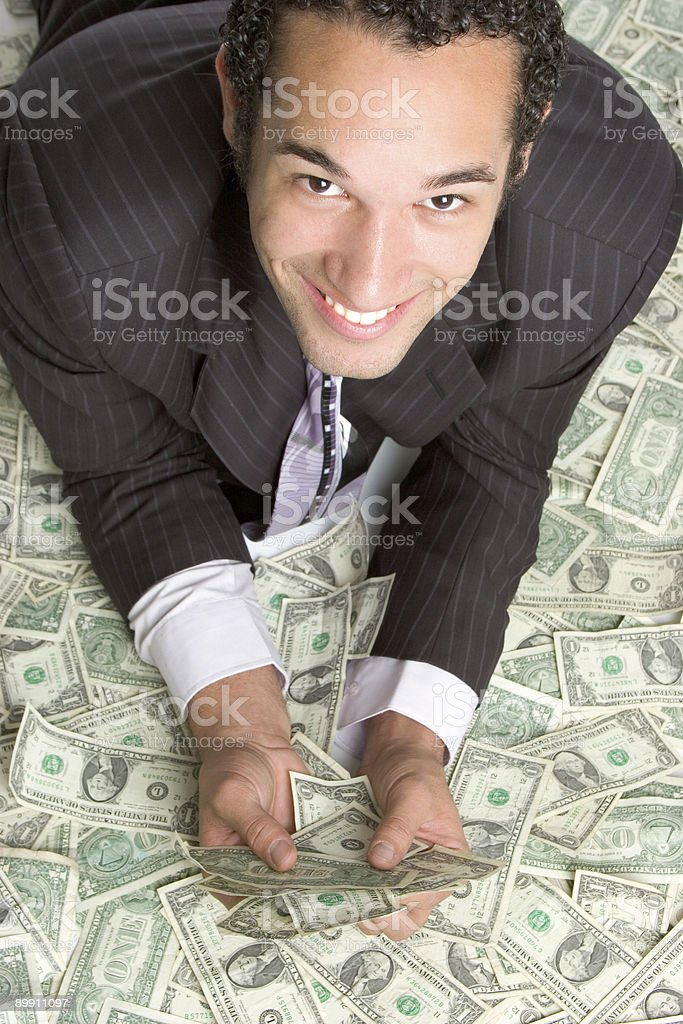 Businessman in money royalty-free stock photo