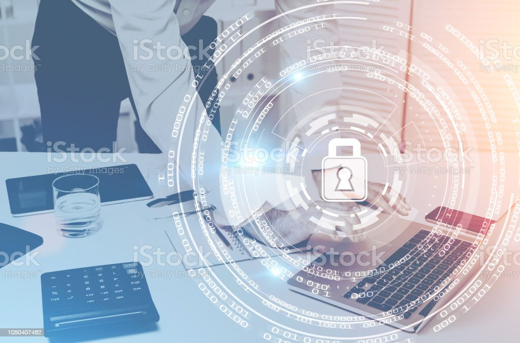 Businessman in office, digital security stock photo