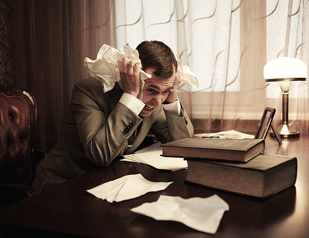 Businessman in panic stock photo