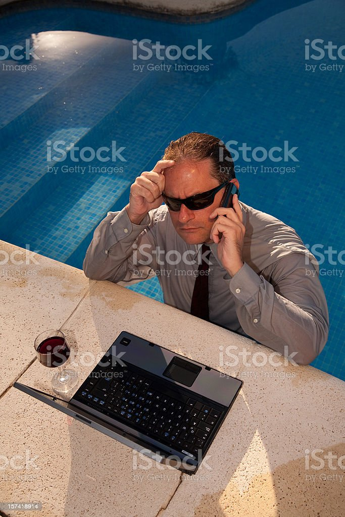 Businessman in Pool royalty-free stock photo