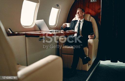 istock Businessman in private jet 1210052781