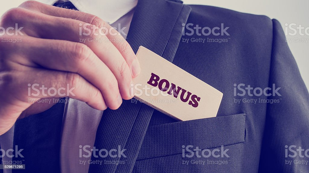 Businessman in Simple Bonus Concept stock photo