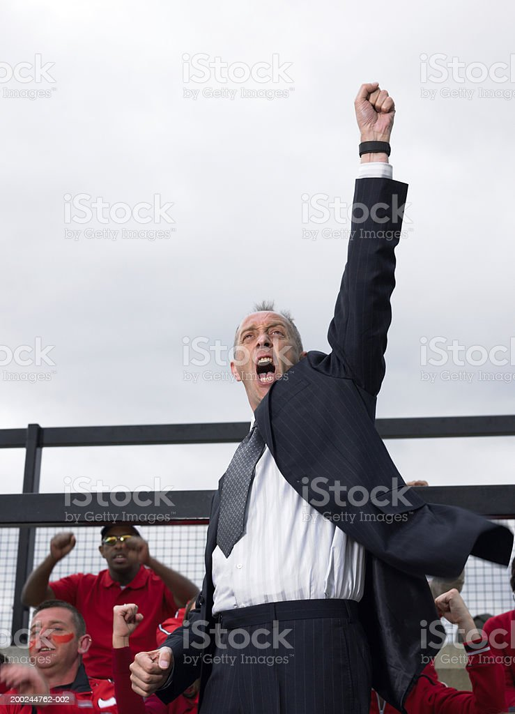 Businessman in stadium crowd, punching air, low angle view stock photo