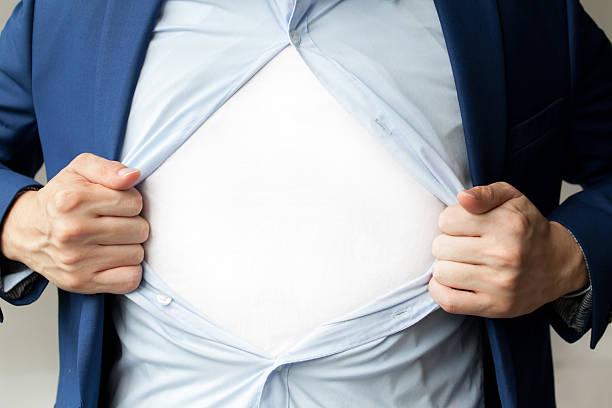 businessman in suit tearing shirt with blank white copy space - parte inferior - fotografias e filmes do acervo