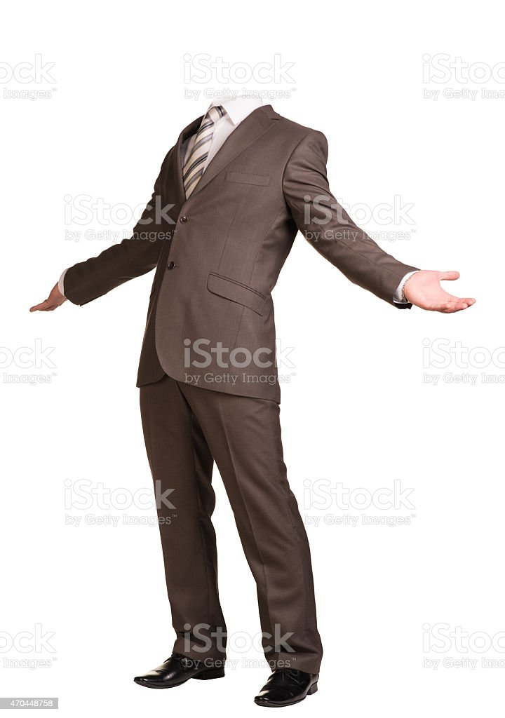 Businessman in suit without head, spread his arms to sides stock photo
