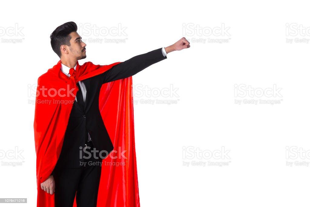Geschäftsmann in Super Hero Rotes Cape – Foto