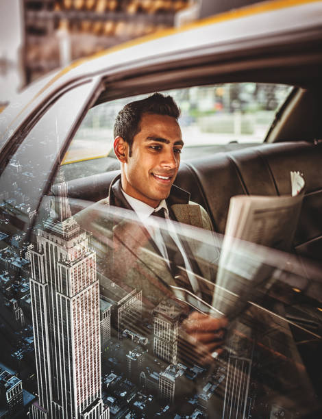 businessman in taxi in nyc - asian travel in car stock photos and pictures