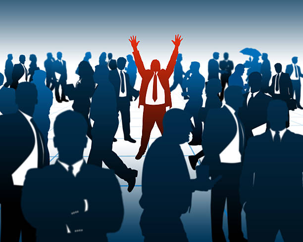 Businessman in the Crowd stock photo