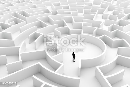 istock Businessman in the middle of the maze. Challenge concepts 910065326