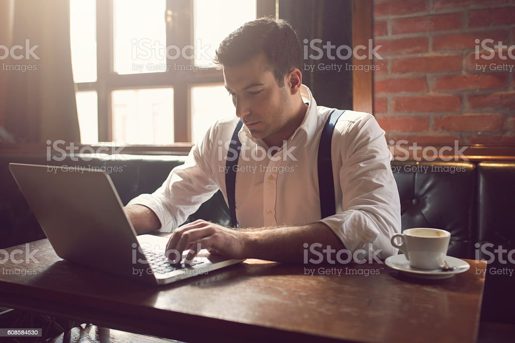 Businessman in the morning stock photo