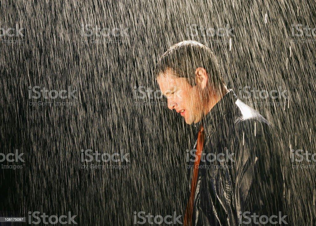 Businessman in the Rain stock photo