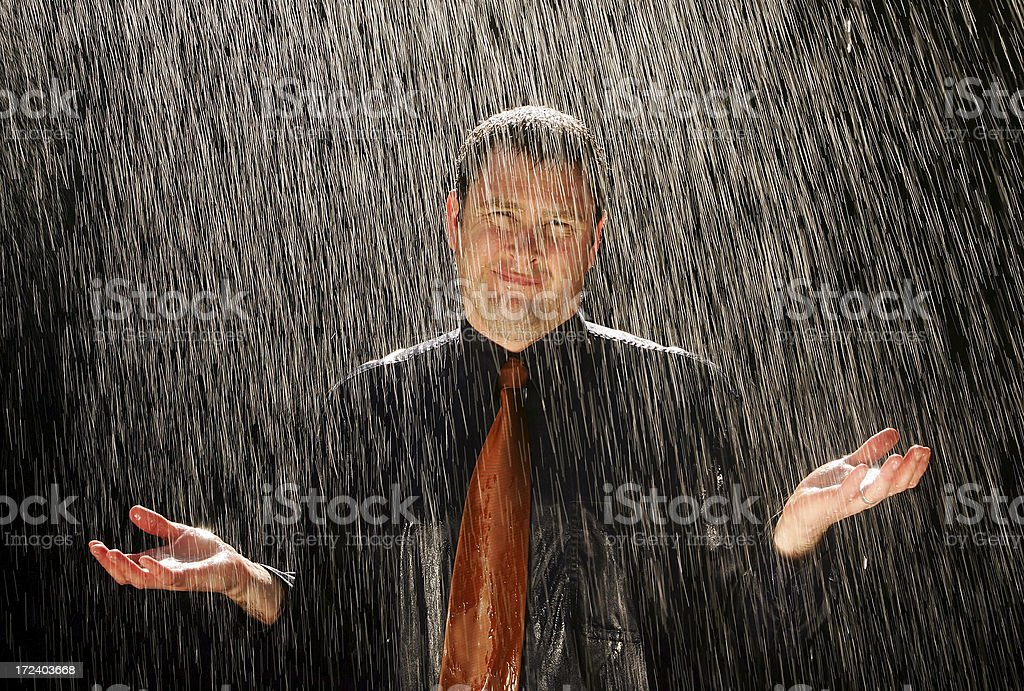 Businessman in the Rain stock photo