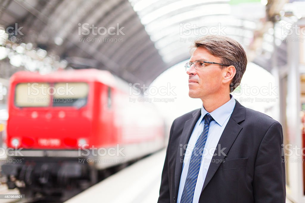 businessman in train station royalty-free stock photo