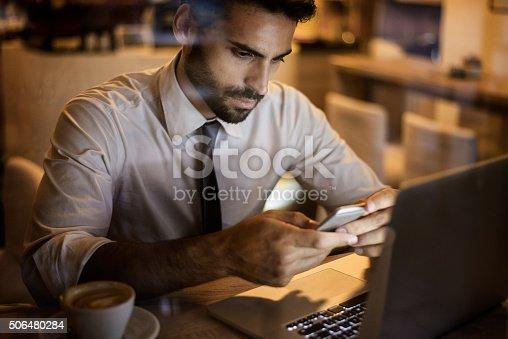 istock Businessman inside coffee shop 506480284