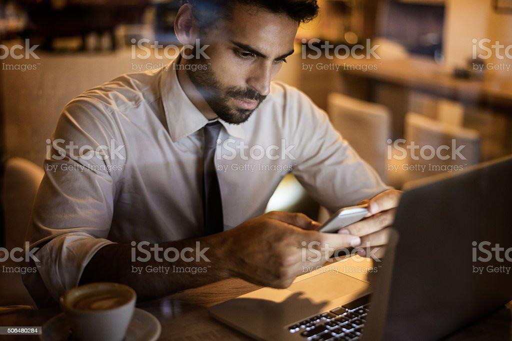Businessman inside coffee shop stock photo