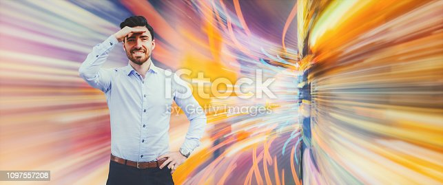 istock Businessman interacting in VR 1097557208