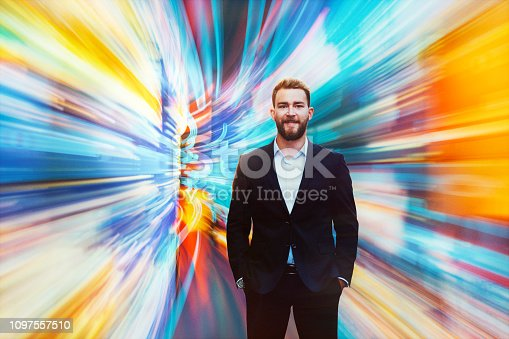 istock Businessman interacting in VR 1097557510