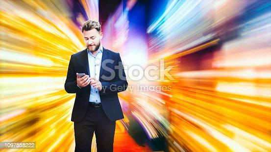 istock Businessman interacting in VR 1097558222