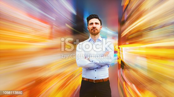 istock Businessman interacting in VR 1098113850
